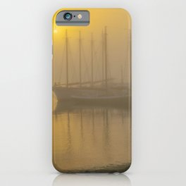 New England Ghost Sailing Ship in Fog Print iPhone Case