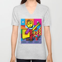 The musician and fruits Unisex V-Neck