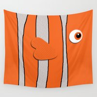 nemo Wall Tapestries featuring Cute Clown Fish by neutrone
