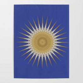 Bright Blue Gold Star Mandala Poster