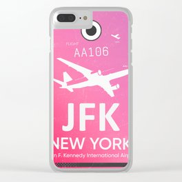 Pink JFK NEW YORK Airport code Clear iPhone Case