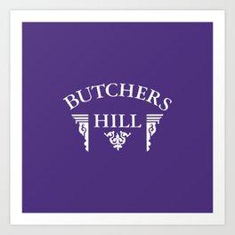 Butchers Hill Classic Logo on Purple Art Print