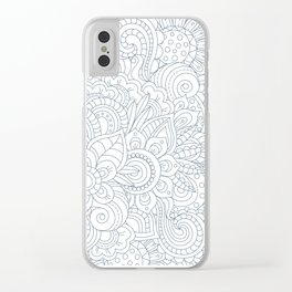 Background Zentangle (doodle) flowers Clear iPhone Case