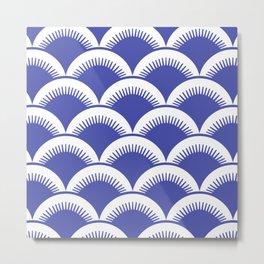 Japanese Fish scales Blue Metal Print