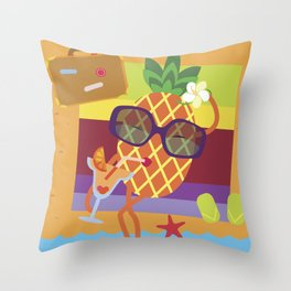 Pineapple on vacations Throw Pillow