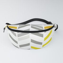 Deconstructed Chevron A – Gray / Yellow / Orange Pattern Print Fanny Pack