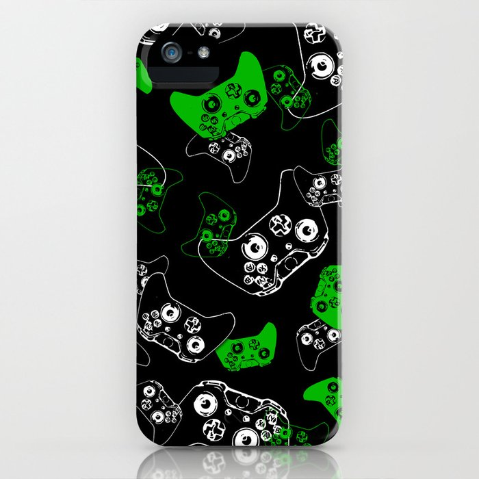 video game black & green iphone case