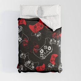 Video Game Red on Black Comforters