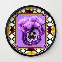 SPRING PURPLE & YELLOW PANSIES  GARDEN Wall Clock