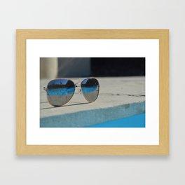 Reflection in the glasses Framed Art Print
