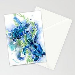 Sea Turtle Turquoise Blue Beach Underwater Scene Green Blue design Stationery Cards