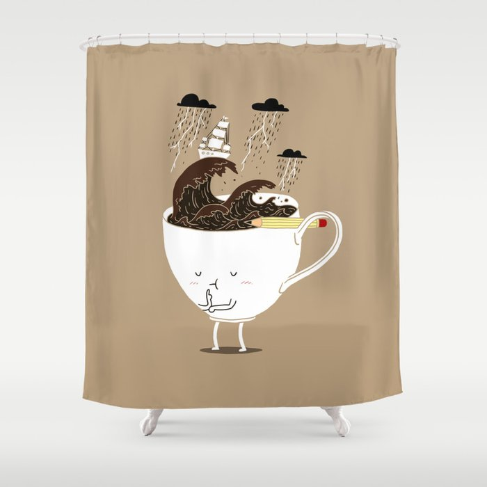 Brainstorming Coffee Shower Curtain By Ilovedoodle