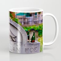 edgar allen poe Mugs featuring Original Burial Place of Edgar Allen Poe by Ann Yoo