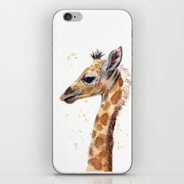 Giraffe Watercolor Cute Baby Animals iPhone Skin