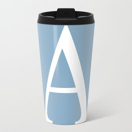 Letter A sign on placid blue color background Travel Mug