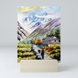 Long Walk By The Mountain Mini Art Print