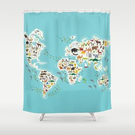 Cartoon animal world map for children and kids, Animals from all over the world Shower Curtain