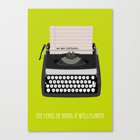 the perks of being a wallflower Canvas Prints featuring the perks of being wallflower by Live It Up