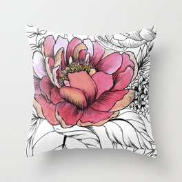 Painted Peony Garden Throw Pillow