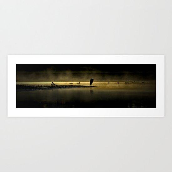 Herons in the Mist Art Print
