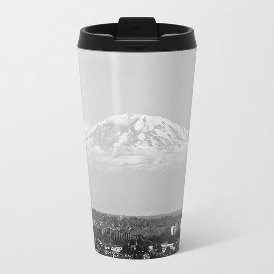 Hovering Mt Rainier in Mono Metal Travel Mug