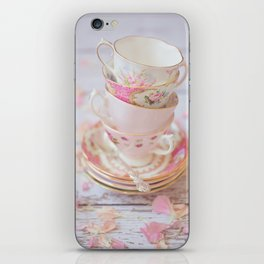 Shabby Chic Vintage Cups in Pink iPhone Skin