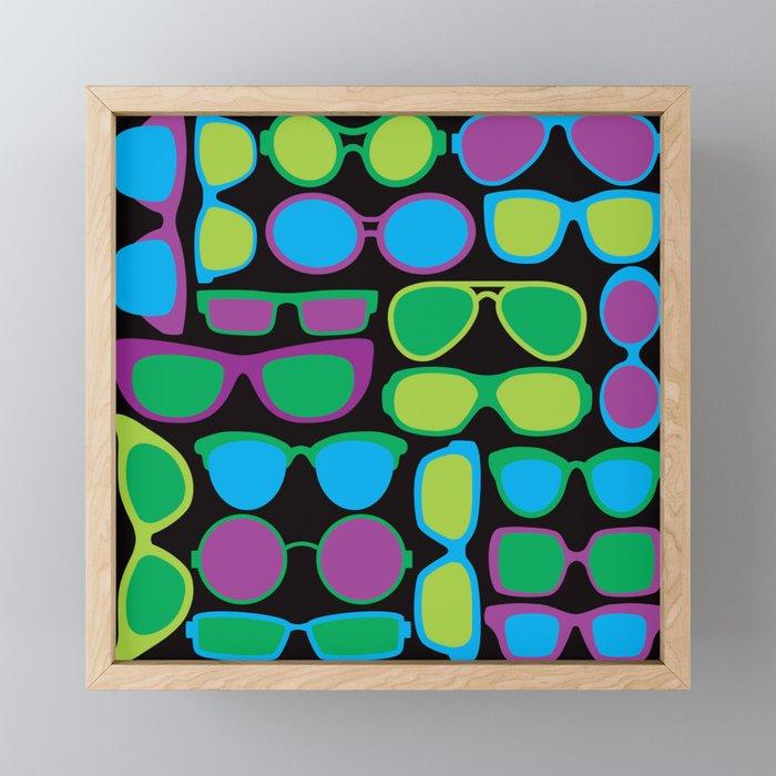 Sunglasses Pattern in Cool Colors Framed Mini Art Print