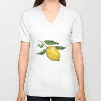 lemon V-neck T-shirts featuring Lemon by Trinity Mitchell