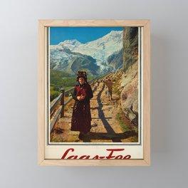 retro plakat saas fee valais alpes Framed Mini Art Print