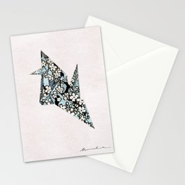 Wish for Peace, Blue Origami Crane Stationery Cards