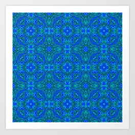 Moroccan Blues Tile Pattern Art Print