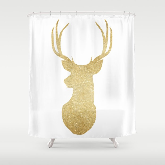 Gold Glitter Reindeer Shower Curtain