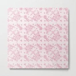 Elegant stylish dusty pink white floral lace Metal Print