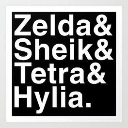 Zelda & Sheik & Tetra & Hylia helvetica list Art Print