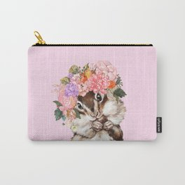 Baby Squirrel with Flowers Crown in Pink Carry-All Pouch