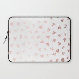 Rose Gold Pink Polka Splotch Dots on White Laptop Sleeve