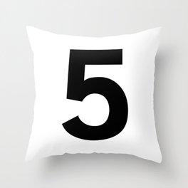 Number 5 (Black & White) Throw Pillow