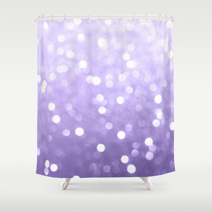 Ultra Violet Purple Sparkly Bokeh Shower Curtain By Pldesign
