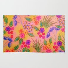 WILDFLOWER FANCY 2 - Cheerful Pink Lovely Floral Garden Pattern Girly Feminine Trendy Flowers Rug