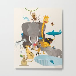 Kids Room Animals – Illustration for the sleeping room of girls and boys Metal Print