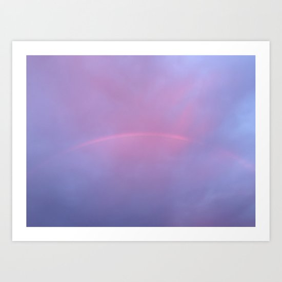 A Rainbow In A Sky Colored By The Sunset Art Print