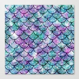 Mermaid Pattern - Aqua & Purple Glitter Texture Canvas Print