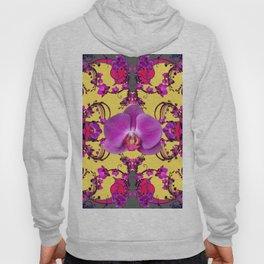Purple Orchids Pattern Fantasy Yellow Grey Art Pattern Hoody