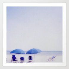 Blue Umbrellas Art Print