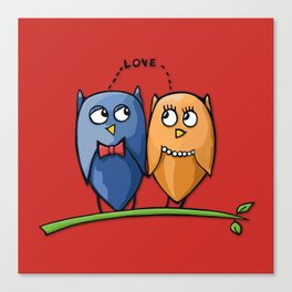 Owl Love red Canvas Print