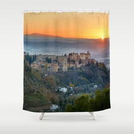 Red sunset at The Alhambra Palace Shower Curtain