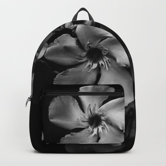 Oleander flowers in black and white Backpack