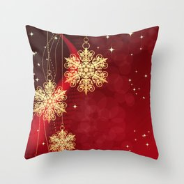 Pretty Christmas Ornaments Red Gold Holiday Decor Throw Pillow