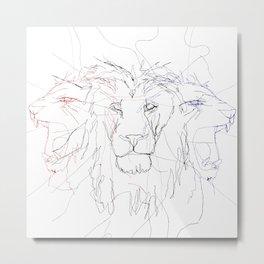 Three Lions Metal Print