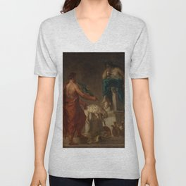 """Eugène Delacroix """"Lycurgus Consulting the Pythia"""" Unisex V-Neck"""